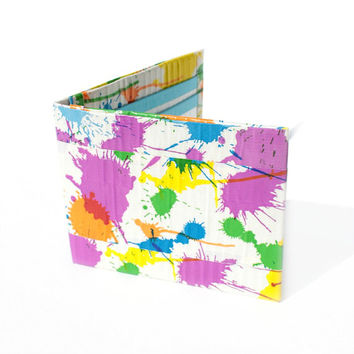 Bifold Unisex Duct Tape Wallet ~ Paint Splatter Design.