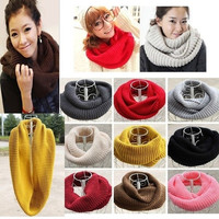 Unisex Women Winter Warm Infinity 2 Circle Cable Knit Cowl Neck Scarf Shawl = 1945923972