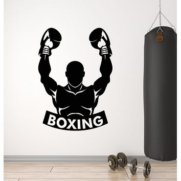 Vinyl Wall Decal Boxing Sports Fighting Man Boxer Gloves Gym Stickers Mural (g2840)