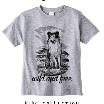 Wild And Free Dog Heather Grey / White Toddler Kids T Shirt Clothes Gift