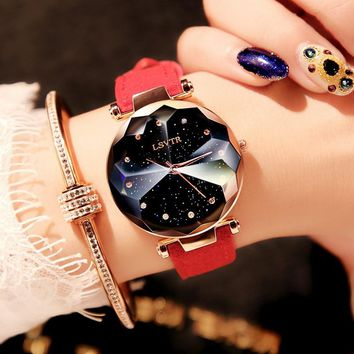 2018 Luxury Brand Gogoey Women Watches Personality romantic starry sky Wrist Watch Leather Rhinestone Designer Ladies Red Clock