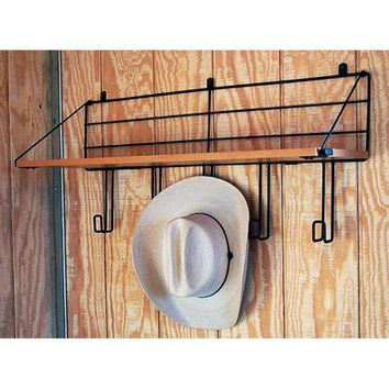 Wall Mount Wood Shelf w/5 Hooks