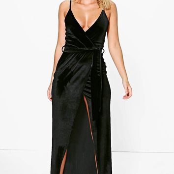 Pia Velvet Wrap Tie Maxi Dress | Boohoo