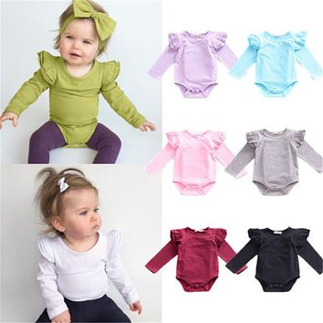 Fashion Brand Newborn Baby Rompers Boys Girls Candy Color Long Sleeves One-piece Clothing Baby Clothes Jumpsuit Children Costume