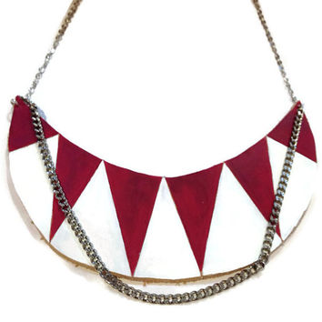 Red and white leather statement necklace,Painted Aztec necklace, Chevron Necklace, Art Deco necklace, tribal necklace, boho necklace