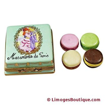 SQUARE BOX WITH MACARONS DE PARIS LIMOGES BOX