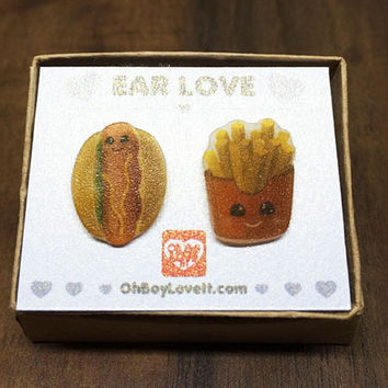 Kawaii Earrings | Kawaii Hot Dog French Fry Earrings | BOXED | Handmade | Hypoallergenic Shrink Plastic non metal jewelry | Made in Canada