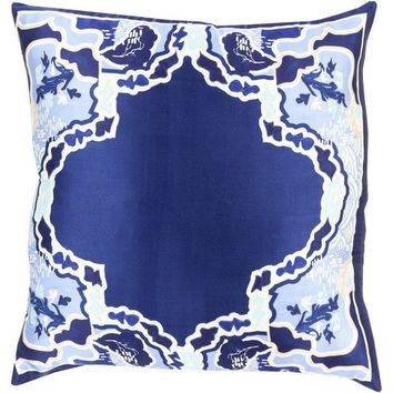 Chinois Medallion Blue Silk Pillow