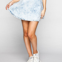 Almost Famous Crave Fame Highwaisted Skater Skirt Acid Wash  In Sizes