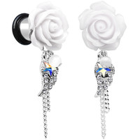 0 Gauge Clear Aurora White Gem Rose Star Angels Wing Dangle Plug Set