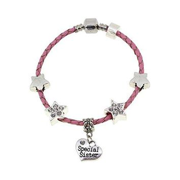 AUGUAU Big Sister You're a Star Pink Leather Charm Bracelet Gift Boxed 19cm