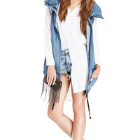 DailyLook: ONE by One Teaspoon Zeppelin Leather Duffle Jacket in Blue XS - L