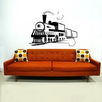 Train Wall Decal Locomotive Wall Decals Vinyl Sticker Interior Home Decor Vinyl Art Wall Decor Bedroom Nursery Kids Baby Decor SV5839