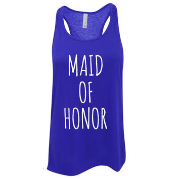 Custom Ink Colors, Maid Of Honor, Flowy Racerback, Bachelorette Party Tank Top, Bridal Party Tank Top, Bridal Top, Wedding Top