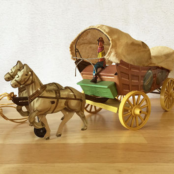 1940s Conestoga Toy Covered Wagon Northwestern Toy Company Tin Horse Toy