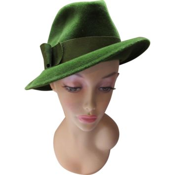 Handsome Ladies Fedora in Pine Green Felt by Madcaps Fall Winter Hat