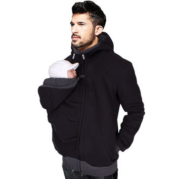 Baby Carrier Hoodies For Dad & Mother Men's Kangaroo Jackets With Zipper