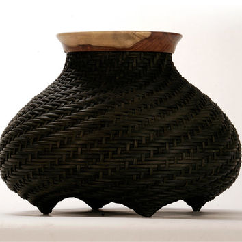 OOAK House decor - Black handwoven basket with wooden rim