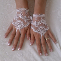 ivory Wedding Glove, Fingerless Glove, High Quality lace, ivory wedding gown, handmade