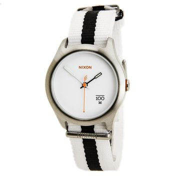 Nixon A344177 Men's The Quad White Dial Black & White Nylon Strap Steel Watch