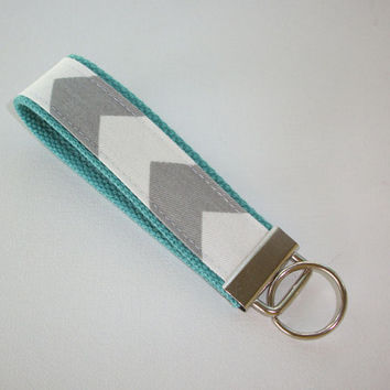 Chevron Key FOB / KeyChain / Wristlet  - Gray and white on Blue aqua  - Zig Zag zigzag