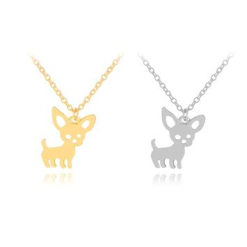 Fashion Cute Lovely Gold Silver Color Chihuahuas Dog Pendant Necklace With Chain For Women Girl Statement Jewelry Gift
