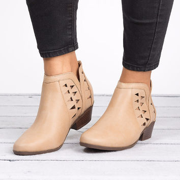 Cut Out Ankle Booties - Beige