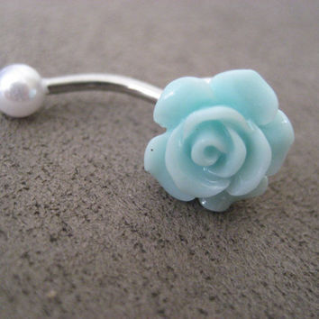 Mint Green Pearl Turquoise Rose Belly Button Ring- Pastel Minty Light Seafoam Flower Navel Stud Jewelry Bar Barbell Piercing
