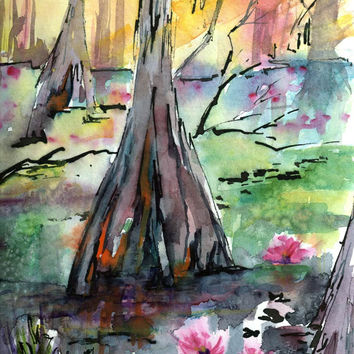 Lilypads among the Cypress Trees Original Watercolor Painting by Ginette