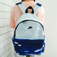 Ulzzang Landscape Dolphin Embroidery Shoulder Bag Backpack