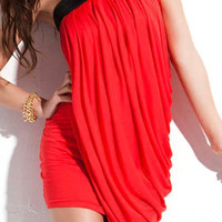 Red Asymmetrical Mini Dress