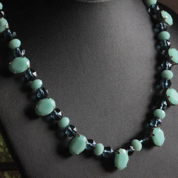 Swarovski Crystal Necklace  - Mint Green and Sapphire Blue.