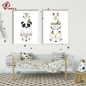 Tribe Panda Fox Head Wall Art Canvas Poster Woodland Animal Nursery Print Painting Nordic Wall Pictures For Kid Room Decoration