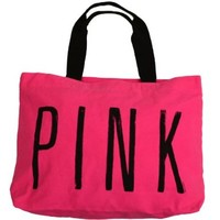 Victoria's Secret PINK LOVE PINK Zipper Weekender Canvas Beach Gym Tote Bag-Candy Pink with Graffiti Script:Amazon:Sports & Outdoors
