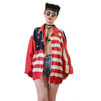 vintage 90s American flag jacket oversized windbreaker stars and stripes americana oversized coat grunge festival medium