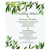 Elegant Olive Boho Garden Summer Wedding Details Card