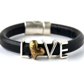 SALE % 30 Off!-Antique Brass Heart  and Love Spacer Regaliz Black Greek Leather Bracelet