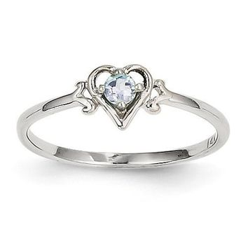 14k White Gold Genuine Aquamarine March Birthstone Heart Ring