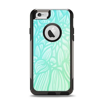 The Faded Blue & Green Subtle Floral Apple iPhone 6 Otterbox Commuter Case Skin Set