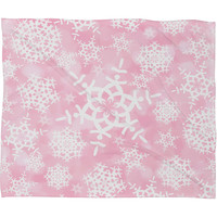 Lisa Argyropoulos Snow Flurries in Pink Fleece Throw Blanket