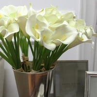 """Real Touch 9 Calla Lily Bouquet in White 13"""" Tall"""