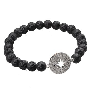 Lava Stone Bracelet Stretch Beads-Jeka Healing Jewelry for Women Lucky Charm Essential Oil Diffuser-Black