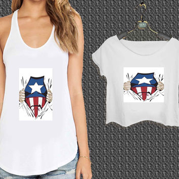 Avengers Captain America For Woman Tank Top , Man Tank Top / Crop Shirt, Sexy Shirt,Cropped Shirt,Crop Tshirt Women,Crop Shirt Women S, M, L, XL, 2XL*NP*