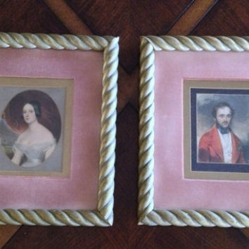 Beautiful 1800s Antique Vintage Framed Portrait Paintings of a Gentry Couple in Gold Foil and Velvet