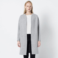Gray wool long coat / woolen gray cardigan / minimalist coat / minimalist clothing