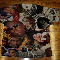2 pac Biggie Tupac BIG shirt All Over Custom Sublimated T Shirt Tee Unisex Women and Men