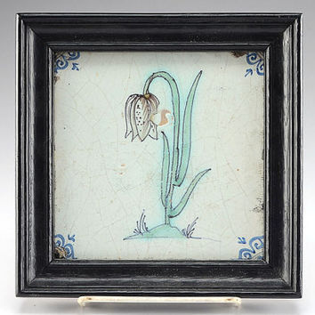 c1600s Delft Holland Fritillaria Flower Tile in Frame