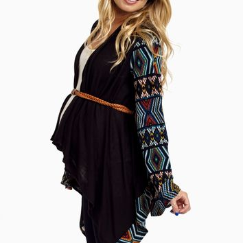 Black-Teal-Tribal-Print-Sleeve-Belted-Maternity-Cardigan