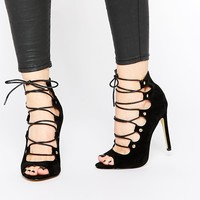 Public Desire Romana Black Ghillie Lace Up Heeled Sandals at asos.com