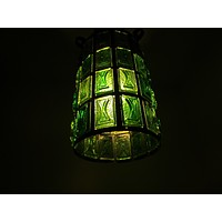 Pendant Ceiling Lantern Bright Light Green Lucite Shades Metal Scrolled Frame